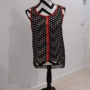Polka Dot Sleeveless Top with Long Back Hem